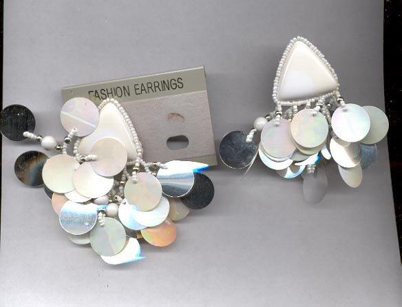 White clip on earrings (#119)