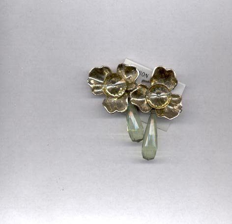 Silvertone and light green clip on earrings (#120)