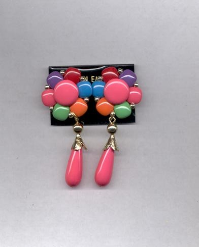 Pink, Green, Purple, Blue, Red clip on earrings (#122)