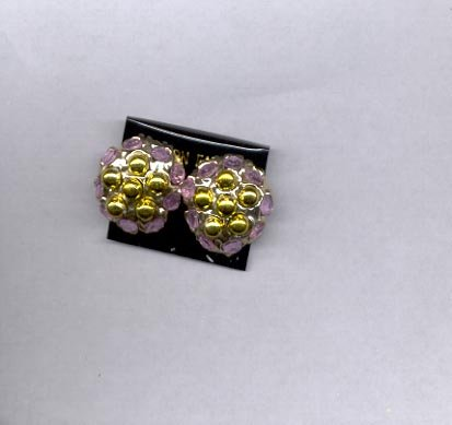 Goldtone with lavender clip on earrings (# 121)