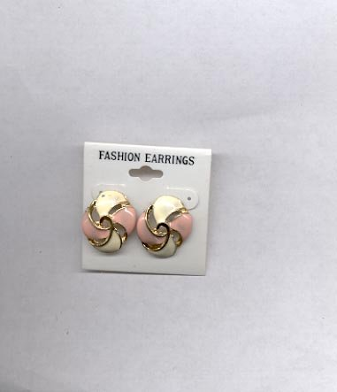 White & pink with goldtone pierced earrings (#141)