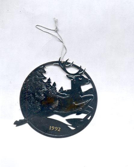 "Avon 1992 Silverplate Ornament- ""Dashing through The Snow"""