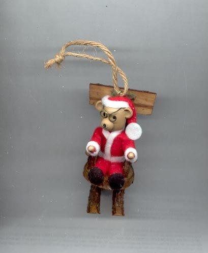 Avon Log Cabin Cutie Ornament- Teddy Bear