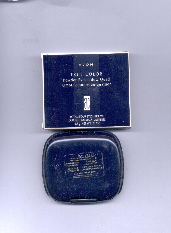 Avon True Color Powder Eyeshadow Quad # 231- Sapphire Blue, Azure Blue,- - VINTAGE