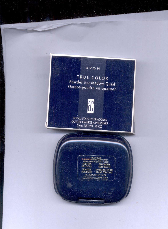 Avon True Color Powder Eyeshadow Quad # 232- Soft Iris, Blue Roses,- NOS