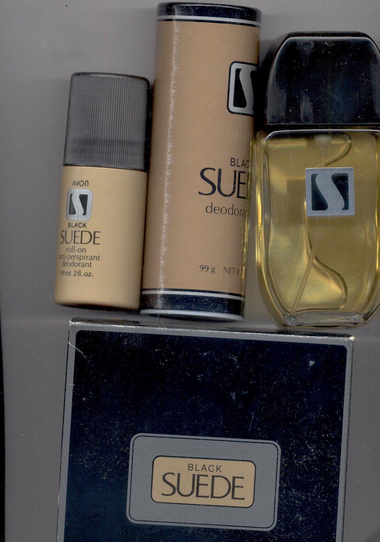 Avon Black Suede Cologne, Talc, Deodorant.