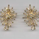 Avon  Rhinestone Spray Clip Earrings- goldtone