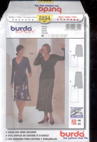 Burda pattern 8894.  Skirt   Size10-22  uncut