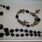 Black silver  Necklace, stretch charm bracelet pierced earrings - handmade (#1)