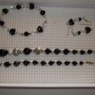 Black silver  irridescent  Necklace, stretch bracelet pierced earrings - handmade (#4)