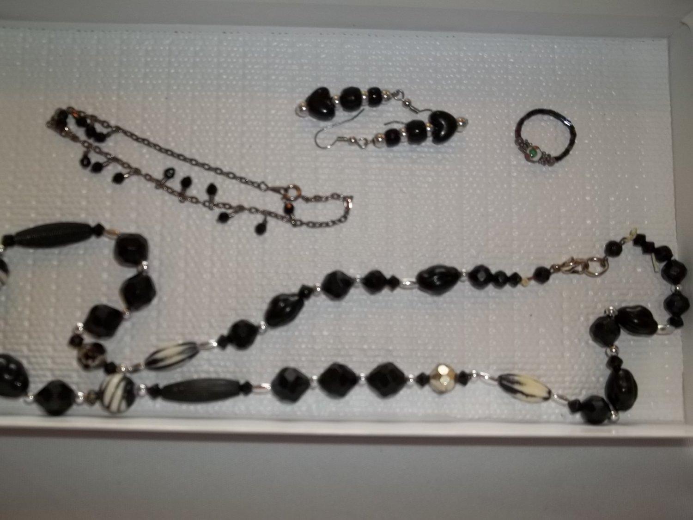 Black & Silver Necklace, chain bracelet pierced earrings ring- handmade (#8)