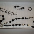 Black & Silver Necklace, chain bracelet pierced earrings ring- handmade (#8)