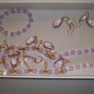 Lavender & gold  Necklace, Stretch bracelet pierced earrings- handmade  (#12)