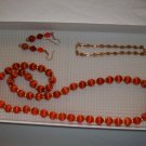 Dark coral satin Necklace, Stretch bracelet pierced earrings- handmade  (#14)