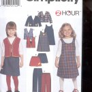 Simplicity Pattern 9854 Child's pants, skirt, jumper,vest,   sizes-A- 2-6X uncut