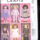"""McCalls Pattern Crafts   M6005 -- 18"""" Doll Clothes    sizes-    OSZ uncut"""