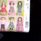 "McCalls Pattern Crafts   M5554 -- Doll Clothes for 18"" Doll-  sizes-    OSZ uncut"
