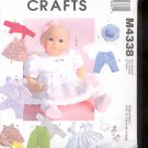 McCalls Pattern Crafts   M4338- Baby Doll Clothes   - uncut