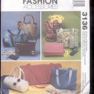 McCalls Pattern Fashion Accessories- 3136- Fashion Accessories- bags-  uncut