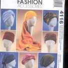 McCalls Pattern Fashion Accessories- 4116- Turbans, headwrap, and hats-  uncut