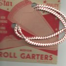 ROLL GARTERS- MEDIUM - carded pair Red and white-  Vintage.