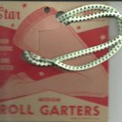 ROLL GARTERS- MEDIUM - carded pair Green and white-  Vintage.