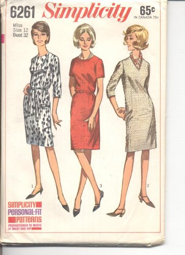 Simplicity pattern 6261   Misses  Dress with three necklines-  Size  12