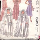 McCalls  pattern 6910  Misses Bride and Bridesmaid gowns, train , cape -  Size 8