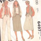 McCalls  pattern 6497  Misses   vest, skirt and pants -  Size 8
