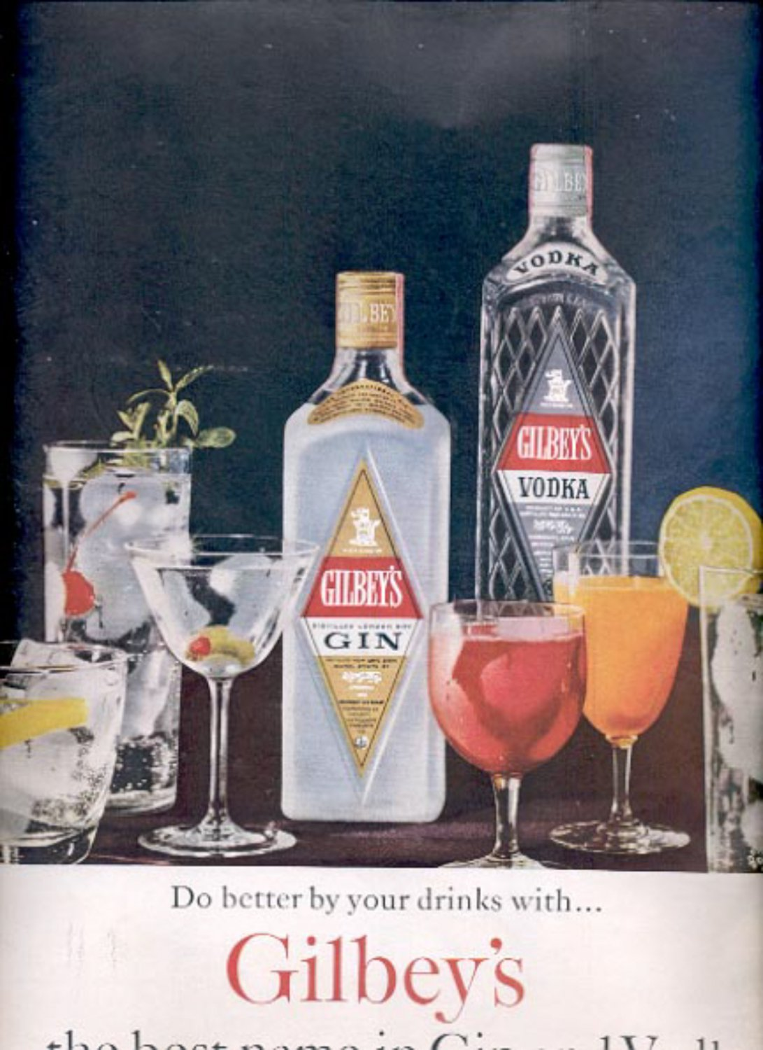1960  Gilbey's Gin and Vodka ad (#5484)
