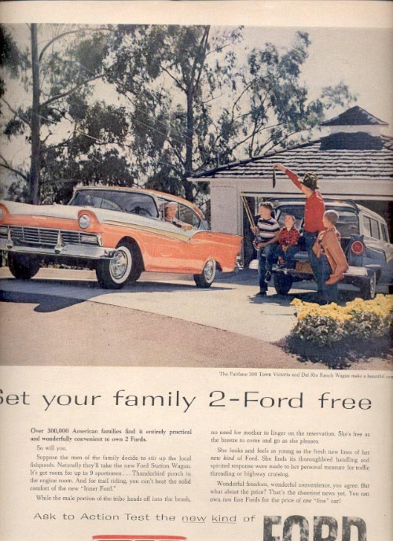 1957    Ford Fairlane 500 Victoria and Del Rio Ranch Wagon  ad (# 4980)