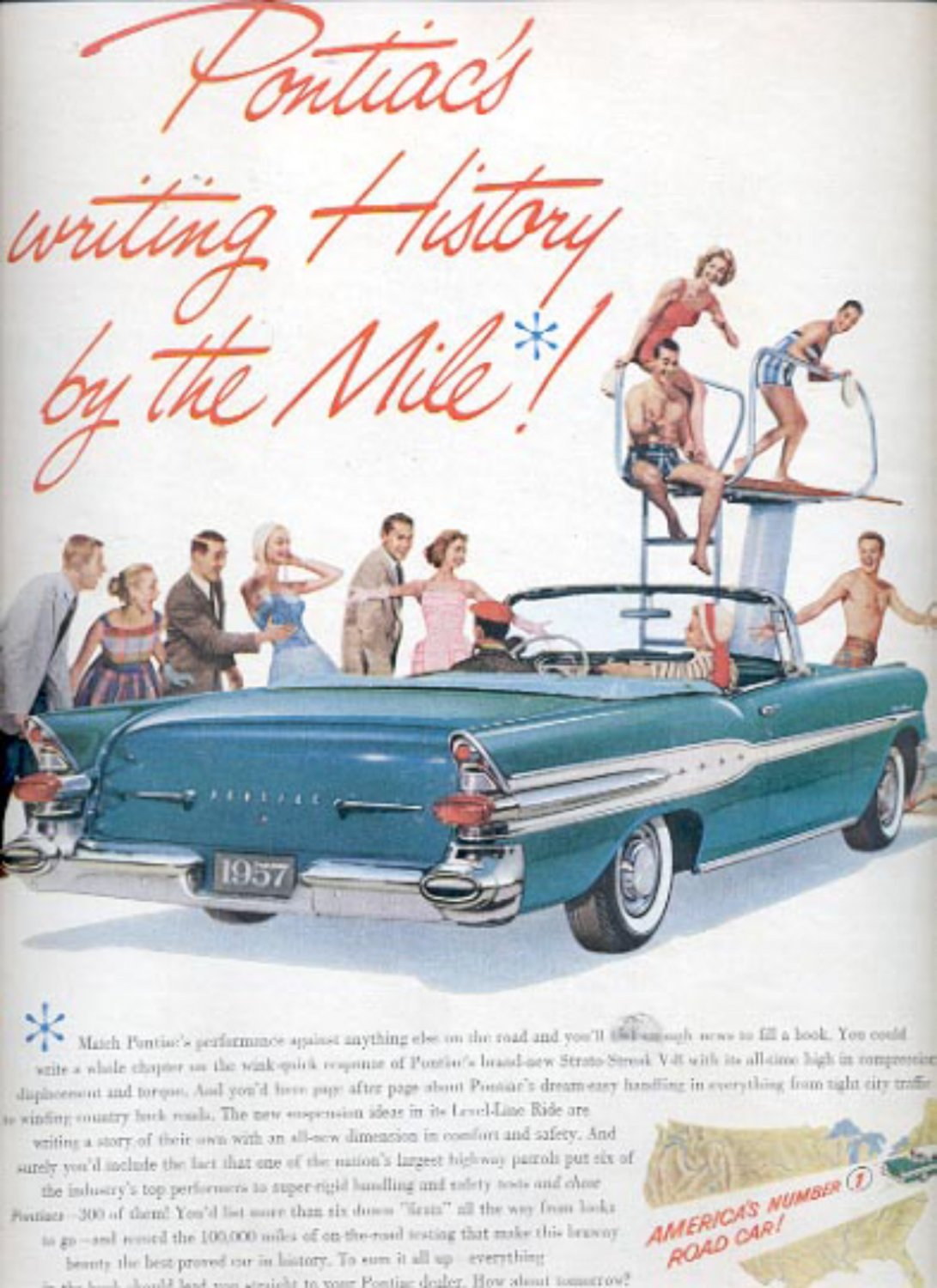 1957   Pontiac's writing history by the mile!   ad (# 4996)