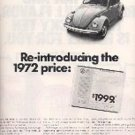 1972  ad of 1973 Volkswagen  Beetle  ( # 1447)