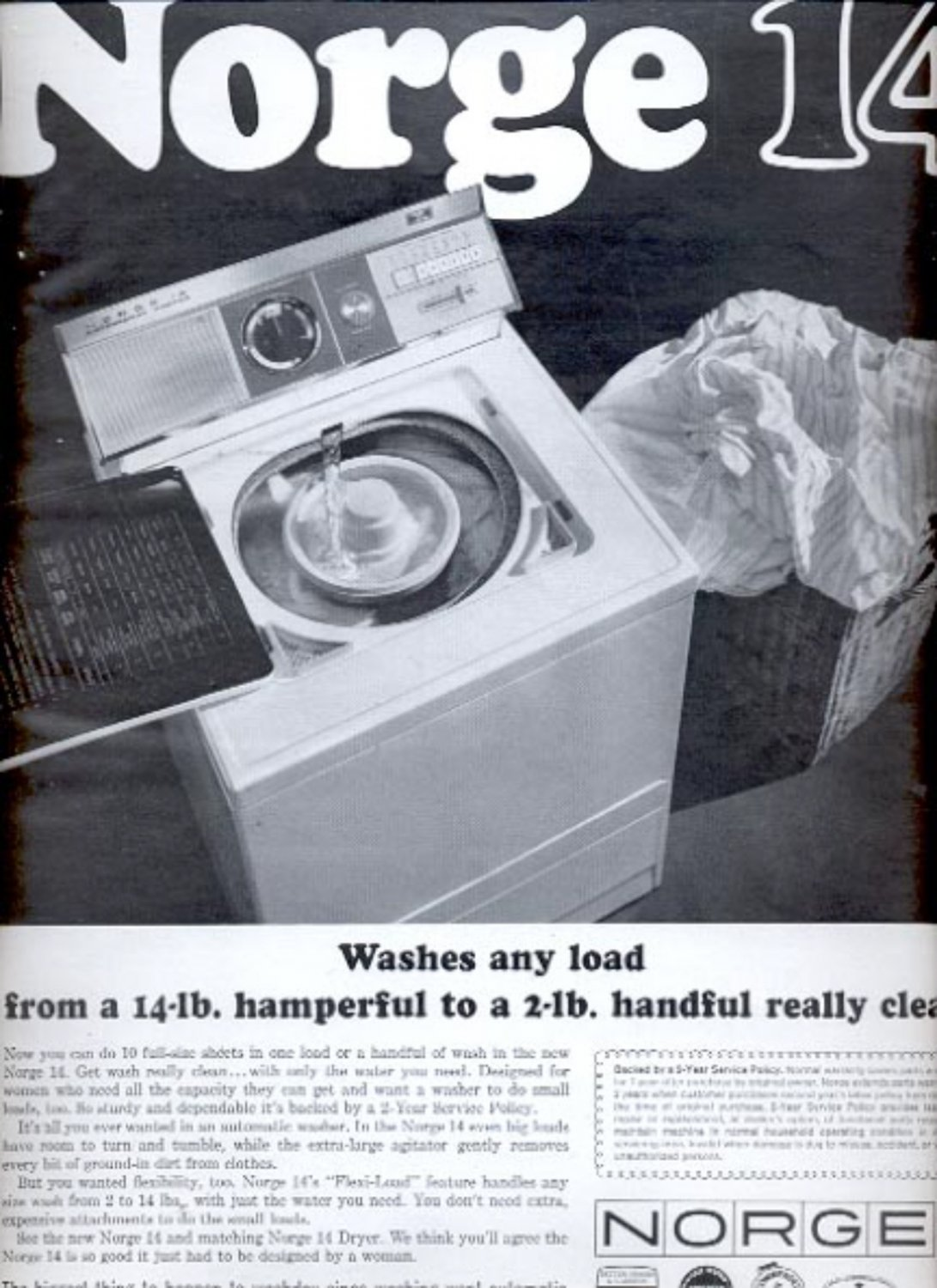1963 Norge automatic washing machine    ad (# 5337)