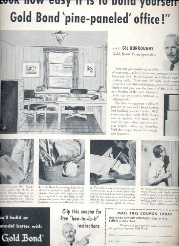 1953 Gold Bond- National Gypsum Company   ad (#5576)