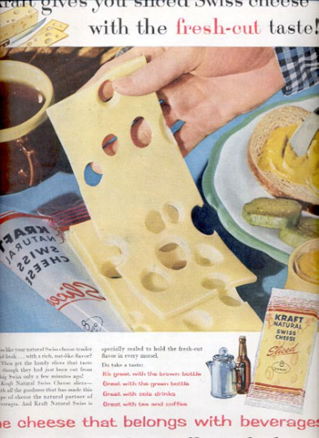 1957  Kraft Natural Swiss Cheese sliced   ad (# 4959)