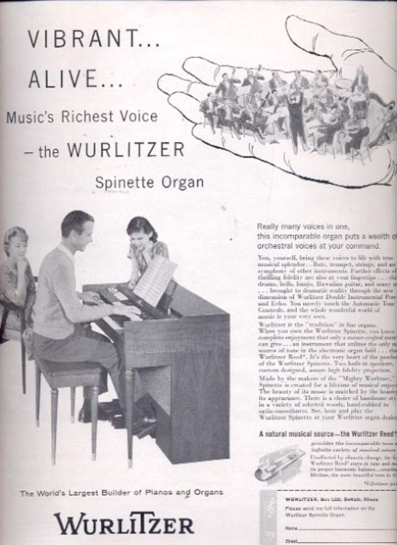 1959  Wurlitzer Spinette Organ    ad (#5554)