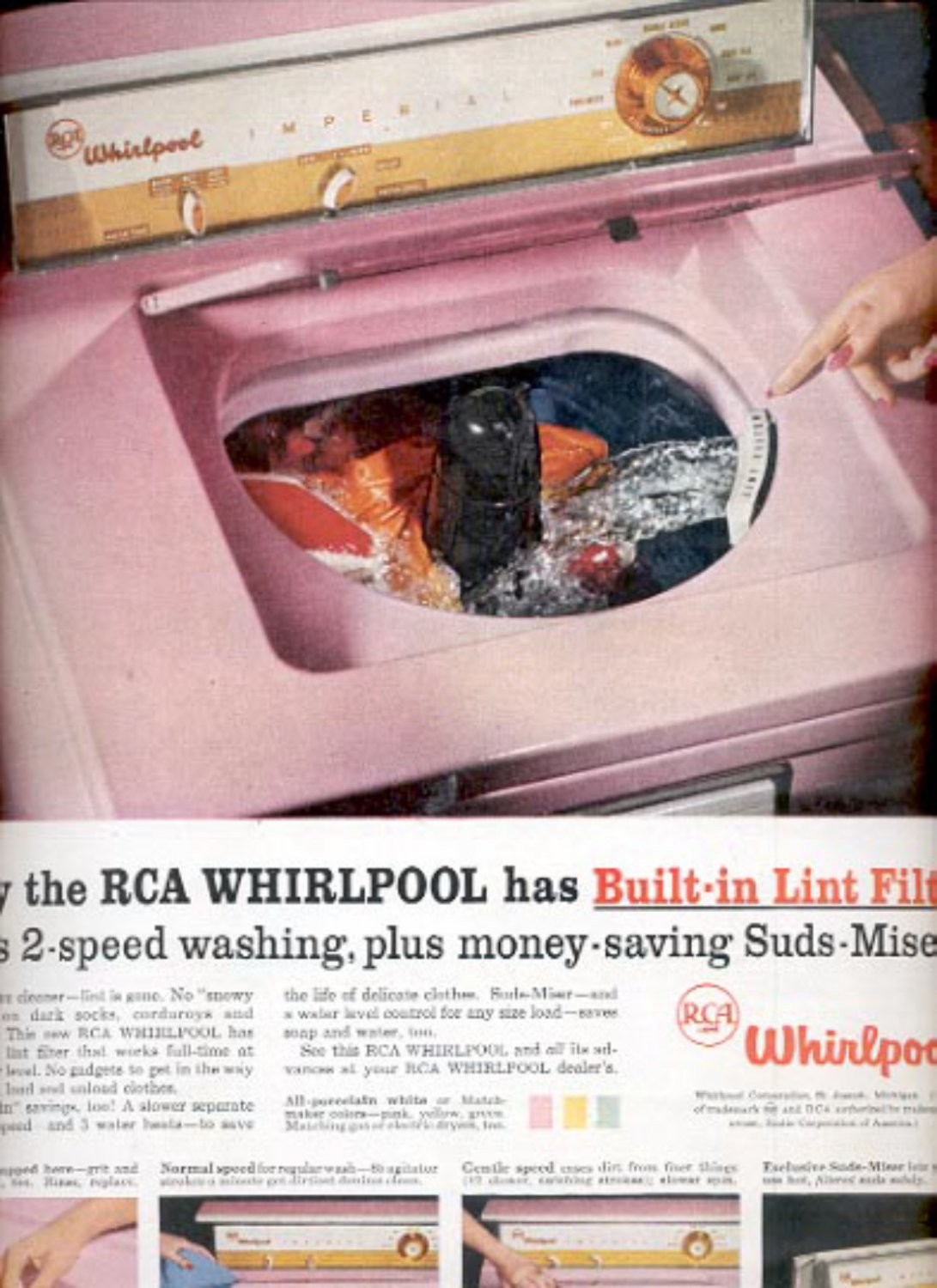 1957   RCA Whirlpool has Built-in lint filter  ad (# 4976)