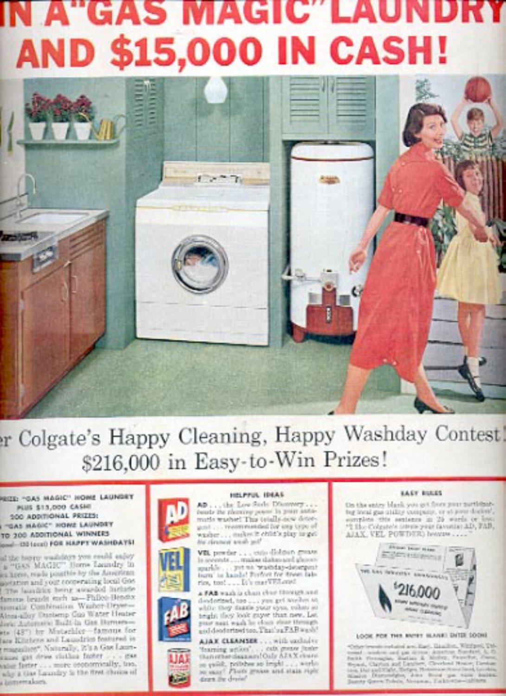 1957  'Gas Magic' Home Laundry  ad (# 4936)
