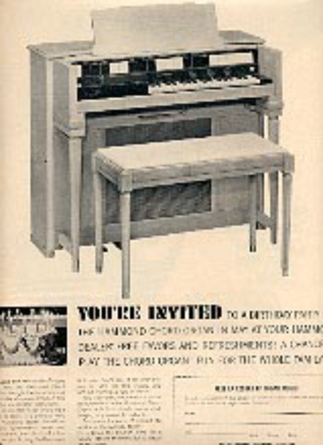 1962 The Lowrey Organ Ad for relaxing Musical