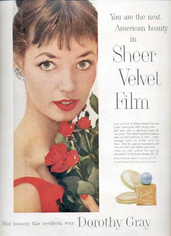 1957  Sheer Velvet Film by Dorothy Gray  ad (# 4940)