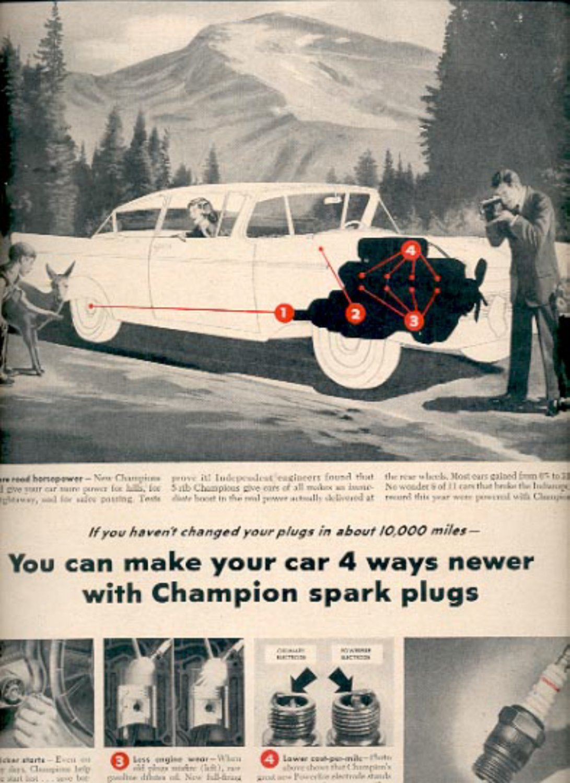 1957     Champion Spark Plugs  ad (# 4923)