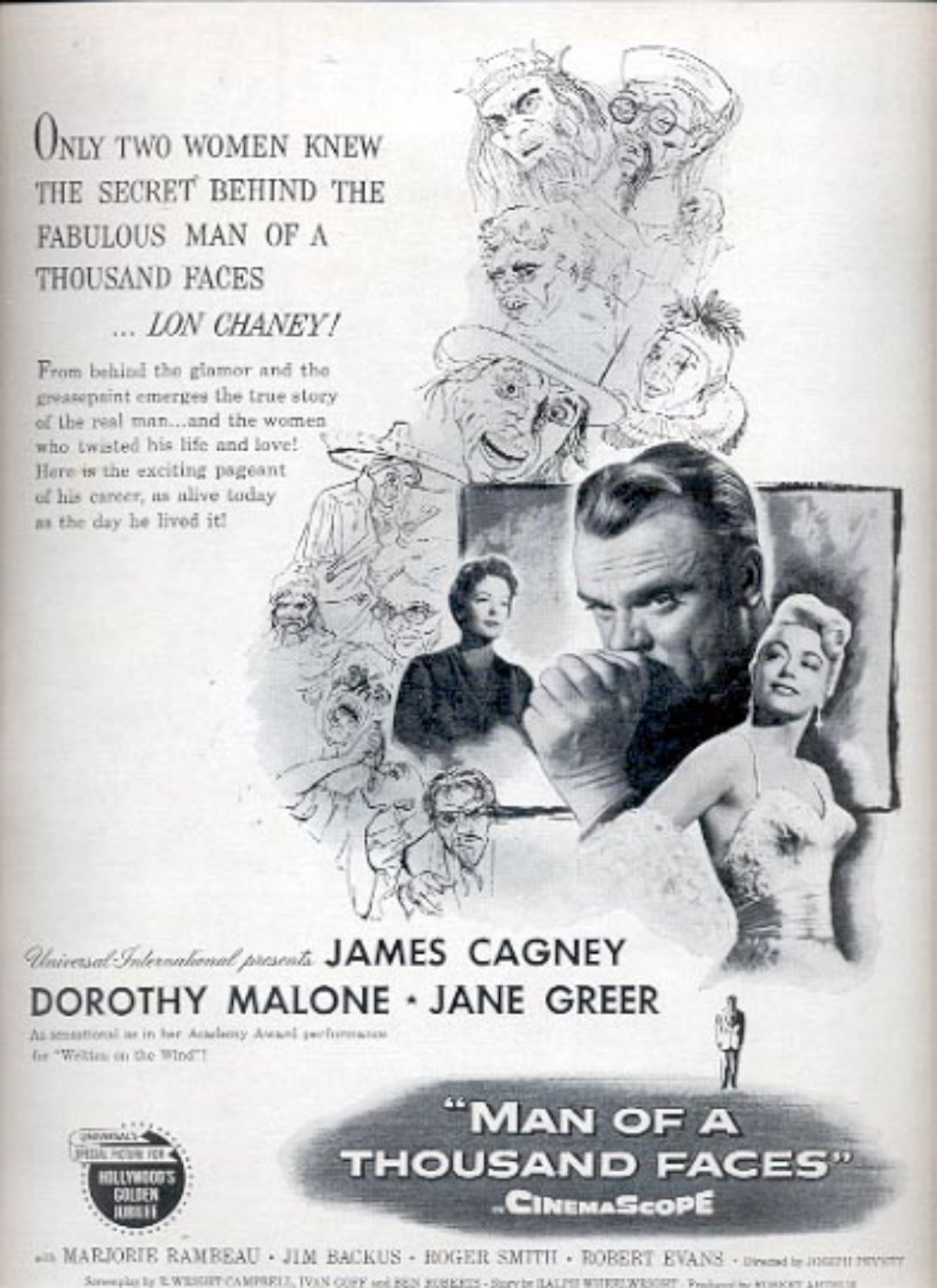 "1957     ""Man of A Thousand Faces"" movie  ad (# 4928)"