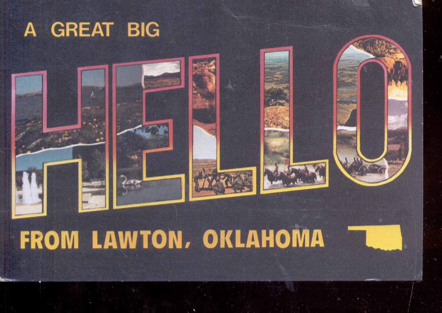 a great big hello from lawton oklahoma postcard 749. Black Bedroom Furniture Sets. Home Design Ideas