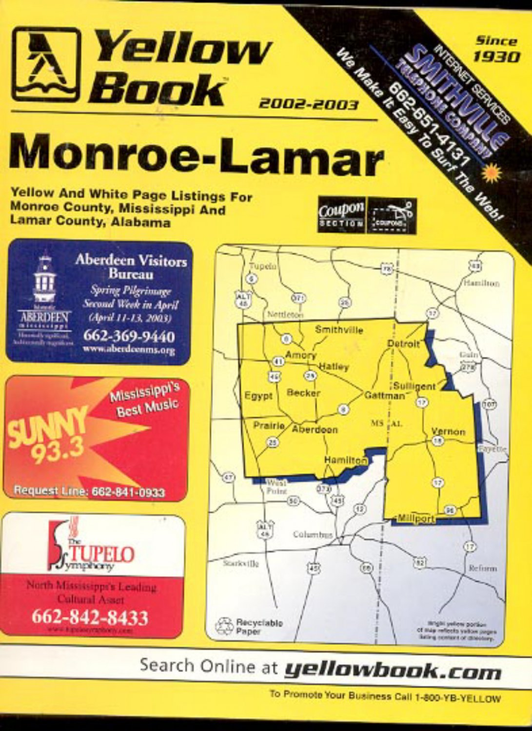 Mississippi monroe county becker - Monroe Mississippi Lamar Alabama Yellow Book 2002 2003 Telephone Directory