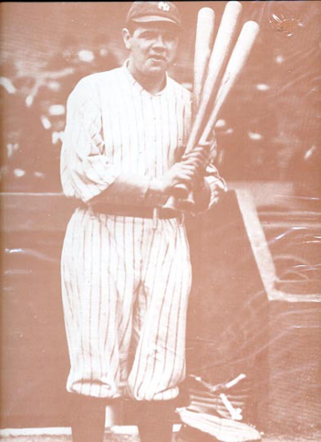 "Baseball player holding 3 bats print (#36)  11""x14"""