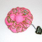 Pink Hand crafted papier mache brooch Made in Japan. Vintage.  (# 9)