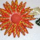 Orange  Hand crafted papier mache brooch Made in Japan. Vintage.  (# 1)