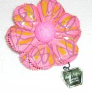 Pink Hand crafted papier mache brooch Made in Japan. Vintage.  (# 7)