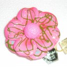 Pink Hand crafted papier mache brooch Made in Japan. Vintage.  (# 5)